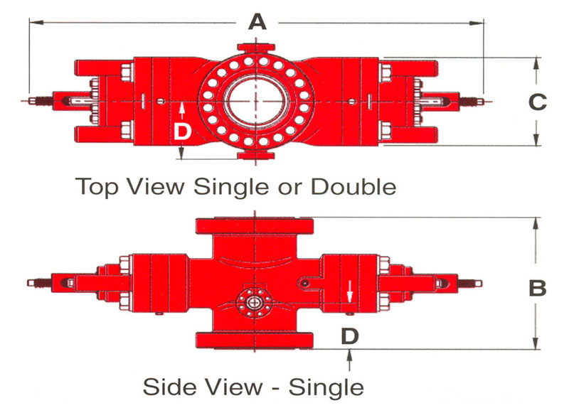 CFI Type U Blowout Preventer Side & Top